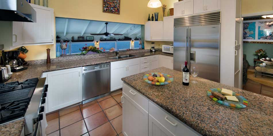 experience cooking in the gourmet kitchen in your st thomas vacation rental villa with a breathtaking ocean view or take a break and enjoy some of the many - Kitchen Gourment